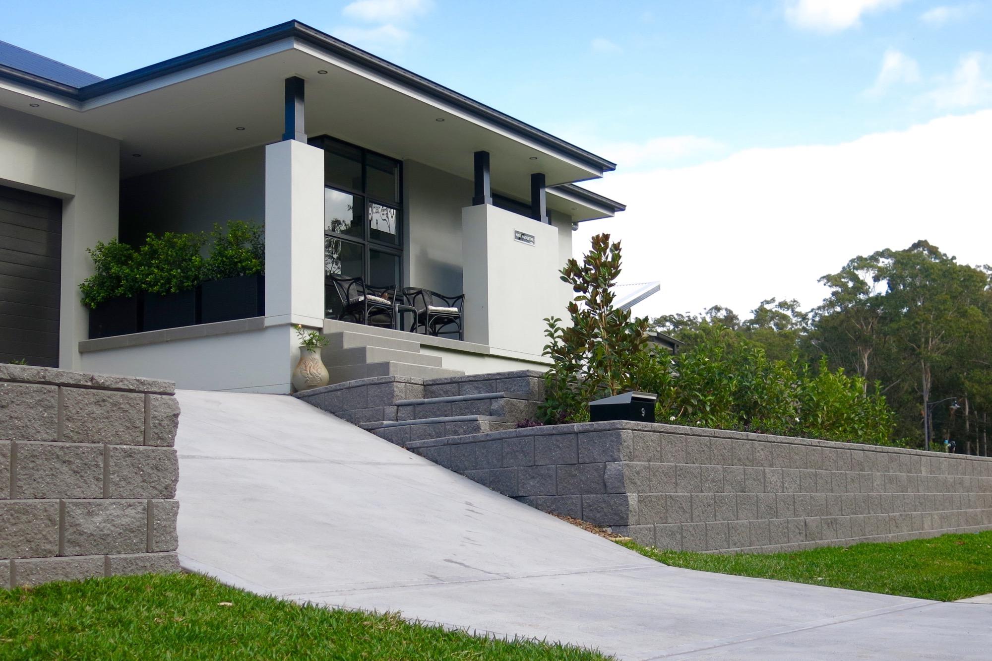 Tasman Block steps and retaining walls at Fletcher