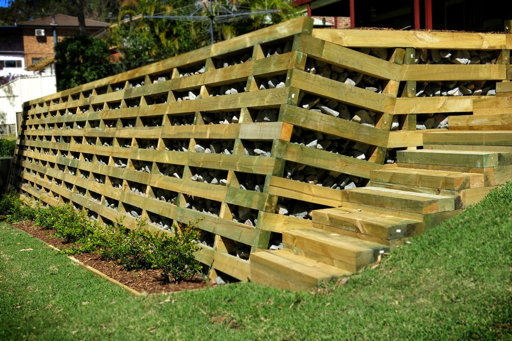 Treated pine timber crib retaining wall