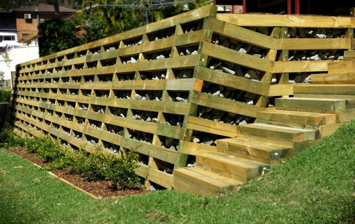 A treated pine crib retaining wall built by Novascape