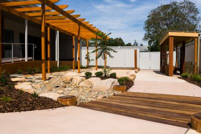Cessnock Childcare Centre structural landscaping completed by Novascape Landscaping